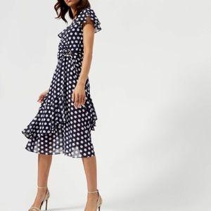 Michael Michael Kors Navy Georgette Wrap Dress XS
